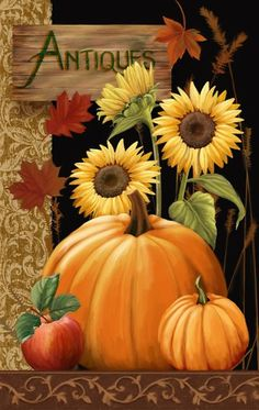 Decoupage Antiques For Sale / Thomas Wood Autumn Painting, Autumn Art, Tole Painting, Fall Paintings, Pumpkin Painting, Acrylic Paintings, Watercolor Painting, Decoupage Vintage, Pintura Country
