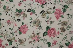 Gold Roses and Pink Flowers Vintage Wallpaper