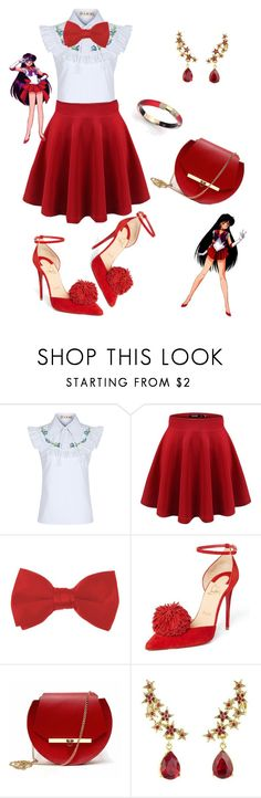 """""""Sailor Mars"""" by mozzy18 ❤ liked on Polyvore featuring FLOW the Label, Forum, Christian Louboutin, Angela Valentine Handbags, Oscar de la Renta and Alexis Bittar"""