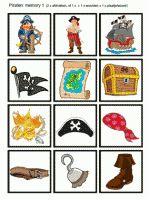 Memory Piraten - plaatjes - 24 kaartjes, 2 pagina's