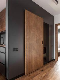 Masculine Interior Design, Apartment in Poland in Minimalist Style Sliding Door Design, Modern Sliding Doors, Interior Sliding Doors, Modern Wood Doors, Sliding Wall, Sliding Door Systems, Apartment Interior Design, Modern Interior Design, Modern Door Design