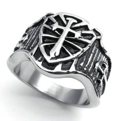 Stainless Steel Cross Shield Mens Ring ,this is a great Gift Idea ,many sizes available choose from drop down menu , Ring top measures 16mm in width