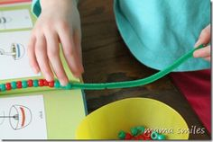 Pipecleaner crafts.  I love the idea in this of putting cherios on a pipecleaner, less supplies to go out and buy!