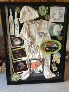 Make a SHADOW BOX with infant memories.such a cute idea! Find adorable Shadow Box Ideas here. The Babys, Shower Bebe, Boy Shower, Foto Baby, Baby Memories, Memories Box, Childhood Memories, Everything Baby, Baby Time