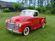 1950 Red Chevrolet 3100 Pickup Truck...I had one of these for my first vehicle.  Oh I miss that truck!