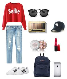 """Untitled #2"" by yiliu-i on Polyvore featuring True Religion, adidas, JanSport, Guerlain, MAC Cosmetics, Max Factor, Prada and '47 Brand"