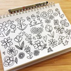 Spring has started in some parts of the world (but not in Australia ). Made some spring flower doodles which are now up in my youtube channel. #youtuber #flowerdoodles #doodle #doodlewithme #doodlesbysarah #sarazorel #sketchbook #flowers