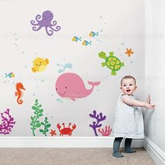 Under the Sea Peel and Stick Wall Stickers for BABY'S ROOM NURSERY #SimpleShapes