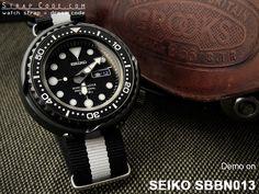 MiLTAT G10 Military Black & White watch straps demo on SEIKO SBBN013