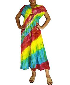 Siam2u Hippie VNeck Tie Dye Cotton Long Kimono Women Summer Dress -- Be sure to check out this awesome product.