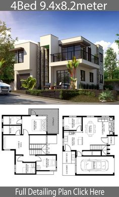 Small Home design plan 9.4x8.2m with 4 Bedrooms - Home Design with Plan