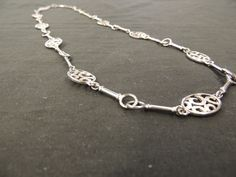 Vintage Silvertone Oval Open Art Work Round Bar Link Chain Long Necklace WOW