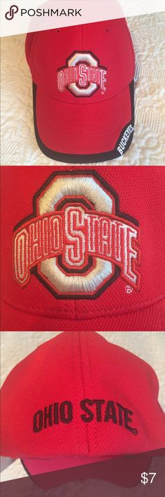 Ohio State Cap This Ohio State Cap is like new, never worn. Great quality in 100% polyester.  It is a ' Collegiate Licensed Product.'  The tag says L/XL. The back band is a stretchy elastic for additional quality fit as seen in photo. Bundles are 10% off!  🏈  Offers welcome! Collegiate Licensed Accessories Hats