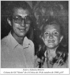 """Euler e Edinéia Ribeiro. Coluna do Gil """"Gente"""" do A Crítica de 19 de outubro de 1980."""