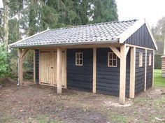 Authentiek eiken en lariks houten tuinhuis, overkapping, tuinpaviljoen, veranda en kapschuur en landelijke schuur op maat. - kapschuur met luifel