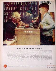1958 Watchmaker of Switzerland Watch Ad Norman Rockwell