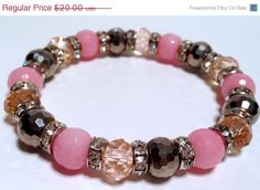SALE Christmas in July Crystal Stretch by IKANDiiAccessories, $14.00 #fashion #accessories #bracelets #women #etsycij #xmas #2013 #gifts #pink #silver #dyed #jade #stone