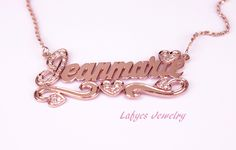 14k rose gold diamond name plate.  created by your master jeweler, Luis Flores.
