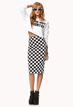 Checkered Midi Skirt $14.80   FOREVER21 - 2000052109