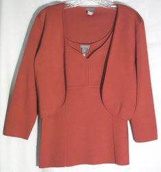 ANN TAYLOR Red 73% Silk Twinset - Cropped Cardigan - Top w/ Woven Seams - Medium #AnnTaylor #Twinset #red #top #sweater #medium