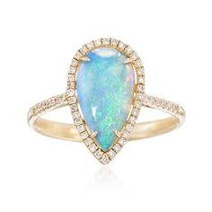 Ross-Simons - Blue Opal and .14 ct. t.w. Diamond Teardrop Ring in 14kt Yellow…