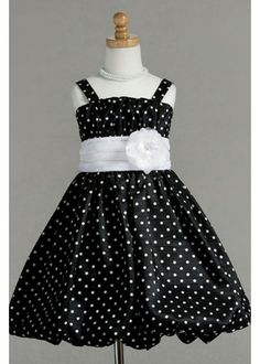 Polyester fabric  white with black spots Flower Girl Dresses