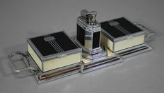 Antique Art Deco Chrome RONSON Octette Touch-Tip Cigarette Lighter Smoking Set