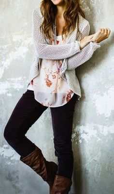 Soft and pretty chiffon floral top, chunky knit cardigan, jeans, and long boots. Perfect for the cooling temperatures