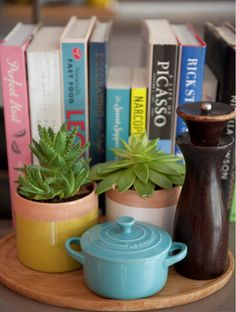 Add interest to your kitchen with easy to keep succulents. Image from Houzz. See beautiful kitchens at www.virtukitchens.uk