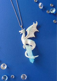 Ice Dragon Necklace - White Dragon Necklace - Polymer Clay Jewelry - Dragon Jewelry - Winter Dragon Pendant - Ice Crystal - Fantasy Jewelry Beautiful handmade ice dragon, sitting on an ice crystal made of resin. Comes with the silver-plated necklace Crystal Necklace, Sterling Silver Necklaces, Crystal Jewelry, Ice Necklace, Sword Necklace, Seashell Necklace, Cute Jewelry, Jewelry Accessories, Women's Jewelry