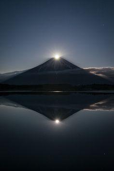 ~~Pearly Gates to Nirvana ~ in Japan when the moon overlaps Mount Fuji it's called Pearl Fuji and Pearl Fuji reflected in the water is Double Pearl Fuji by Yuga Kurita~~