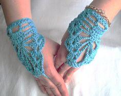 Steampunk  Lace fingerless Gloves  Wedding  Bridal Cuff Bracelet  Bride  Bridesmaide  Aquamarine Blue   Hippie   Teen Spring Fashion