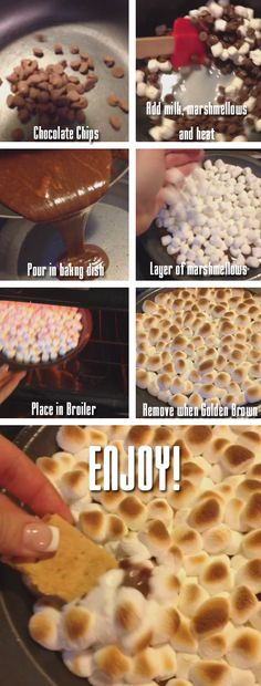 S'mores DIP!!! 1 cup of milk chocolate chips, 2 tablespoons of milk, 2 cups mini marshmellows, graham crackers for dipping. @Laura Jayson Jayson Jayson Wewers @Erin B B B Speed can we make this happen??