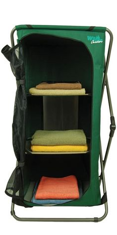 This pop up cupboard is great for storage when camping. Protects items from insects with its zippered mesh door. Sets up in seconds for quick temporary organized storage. 2 shelves inside and 1 on top