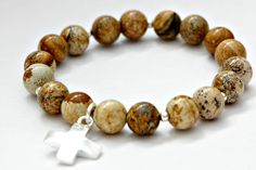 Zen bracelet yoga bracelet with Sandcolor Jasper by ClassyLeather, $28.00