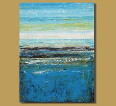 abstract painting, large original art, abstract ocean painting, blue painting, modern landscape painting (30x40) Sea to Sky by SageMountainStudio on Etsy https://www.etsy.com/listing/196821898/abstract-painting-large-original-art