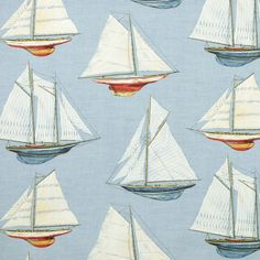 Braemore Nautical Drapery Fabrics - Braemore Fair Harbor Sea Spray