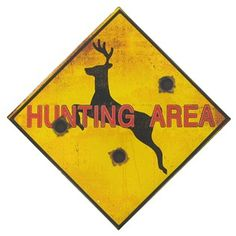 """%0A%09This Hunting Area Tin Sign is the perfect way to enhance the décor of any hunting enthusiast's home, office, cabin or man cave. %0A %0A%09Made to hang on the wall, the tin sign measures approximately 11 3/4"""" x 11 3/4"""". %0A"""