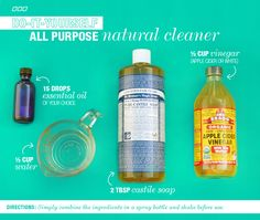 All you need are some basic items in your pantry to make these 6 All Natural Household DYI Cleaners you can make at home!