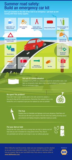 Summer Road Safety: Build an emergency car kit #infographic #napaknowhow #summer