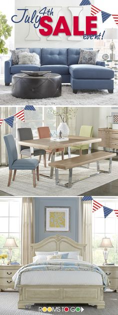 Visit Rooms To Go today, and save on beautiful collections of bedrooms, living rooms and dining rooms during our July 4th Sale Event!