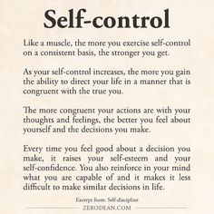 I actually think self control is among one of the most attractive qualities someone can have. So many ppl just do whatever whenever and not give it a second thought. But to have self control demonstrates mental strength and conviction Motivacional Quotes, Wisdom Quotes, Life Quotes, Motivation, Affirmations, Self Discipline, Discipline Quotes, Emotion, Self Improvement Tips