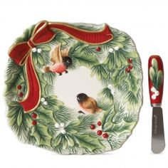 Santa's Forest Friends Serving Set and Christmas Spreader Set by Fitz and Floyd