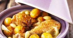 Ingrédients :     6 cuisses de poulet  400 g de courage  200 g de pommes de terre  40 cl de bouillon de volaille  2 barres de la V...