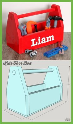 diy kids tool box, small wood box how to build Small Woodworking Projects, Woodworking Furniture Plans, Woodworking Tips, Woodworking Joints, Kids Tool Box, Tool Box Diy, Diy Box, Wood Projects For Kids, Diy Pallet Projects