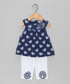 The perfect outfit for adventures of any sort, this adorably embellished pair is ready to play. The top boasts a charming neckline and print. Best of all, both pieces are made from a soft cotton blend that will keep Baby cozy!