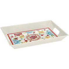 """Better Homes and Gardens 19.5 x 14.5"""" Melamine Rectangular Handled Tray, Red Floral"""