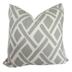 Kravet Gray Trellis Decorative Pillow Cover, Throw Pillow, Accent Pillow, Toss Pillow, 18x18, 20x20, 22x22 or lumbar pillow. $52.00, via Etsy.