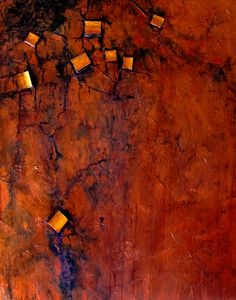 BURIED TREASURE 12002, mixed media contemporary metallic abstract Carol Nelson Fine Art, painting by artist Carol Nelson