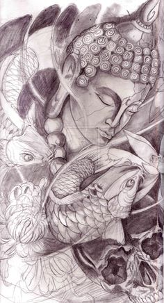 Buddha without the skull and koi fish they just don't belong but that buddha is where it's at and I love it! Buddha Tattoo Design, Buddha Tattoos, Buddha Tattoo Sketch, Tattoo Sketches, Tattoo Drawings, Neue Tattoos, Bild Tattoos, Body Art Tattoos, Sleeve Tattoos